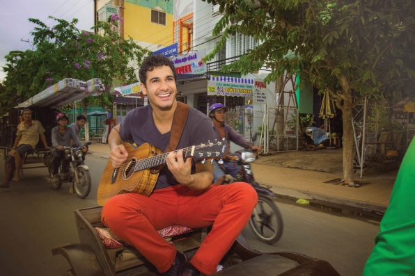 Elyes Gabel on a rickshaw ride in the town of Chau Doc in Vietnam.