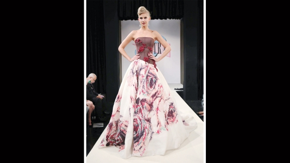 This asymmetrical number is just as beautiful as a rose garden in full bloom.
