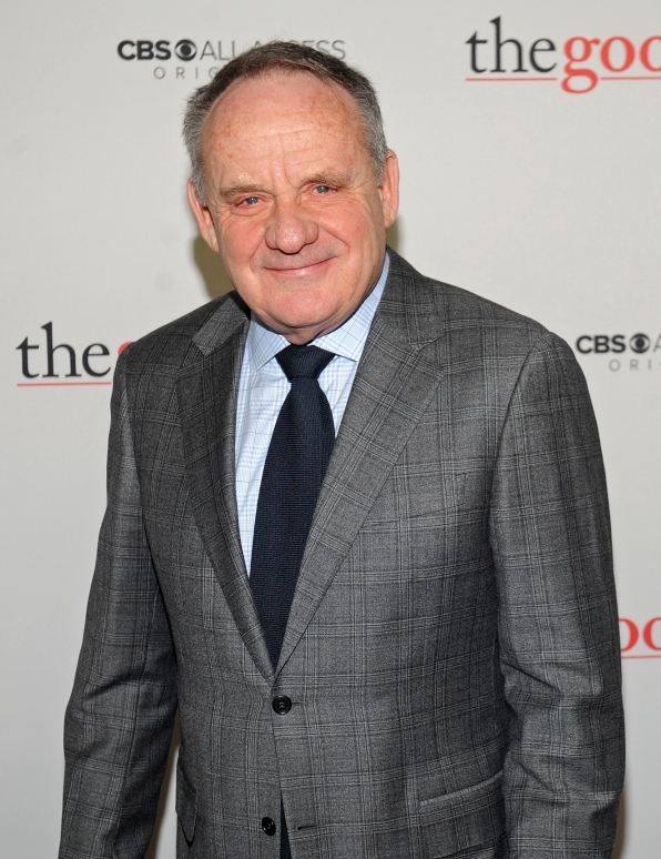 Paul Guilfoyle wears a sharp grey suit on The Good Fight red carpet.