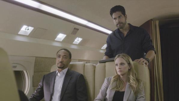 Agent Walker, JJ, and Agent Alvez explore ideas on the jet.