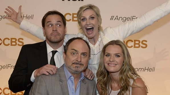 The cast of Angel From Hell got goofy on the gold carpet