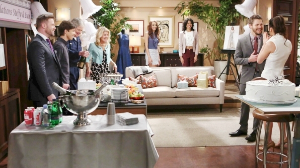 The Forrester Creations staff throws Steffy and Liam a surprise wedding shower.