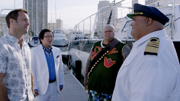 Alex O'Loughlin as Steve McGarrett, Masi Oka as Dr. Max Bergman, Shawn Mokuahi Garnett as Flippa/Shawn Tupuola, and Taylor Wily as Kamekona