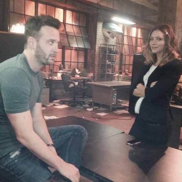 Scorpion Instagram:  Katharine and Eddie getting ready to rehearse! #setlife #teamscorpion