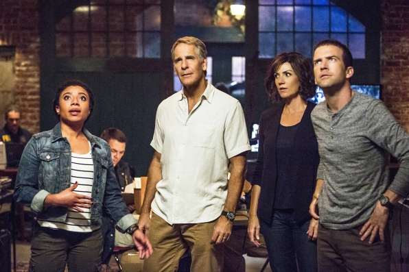 """Shalita Grant as Sonja Percy, Scott Bakula as Special Agent Dwayne Pride, Zoe McLellan as Special Agent Meredith """"Merri"""" Brody, and Lucas Black as Special Agent Christopher LaSalle."""