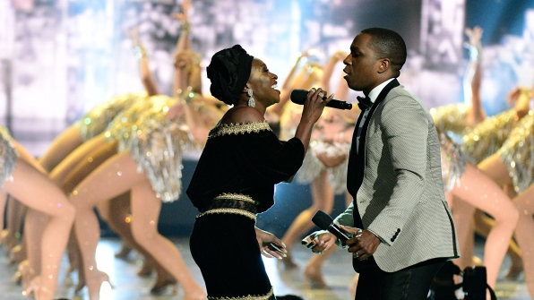 "Cynthia Erivo and Leslie Odom Jr. team up with the famous Radio City Rockettes for a memorable performance of ""New York, New York"""