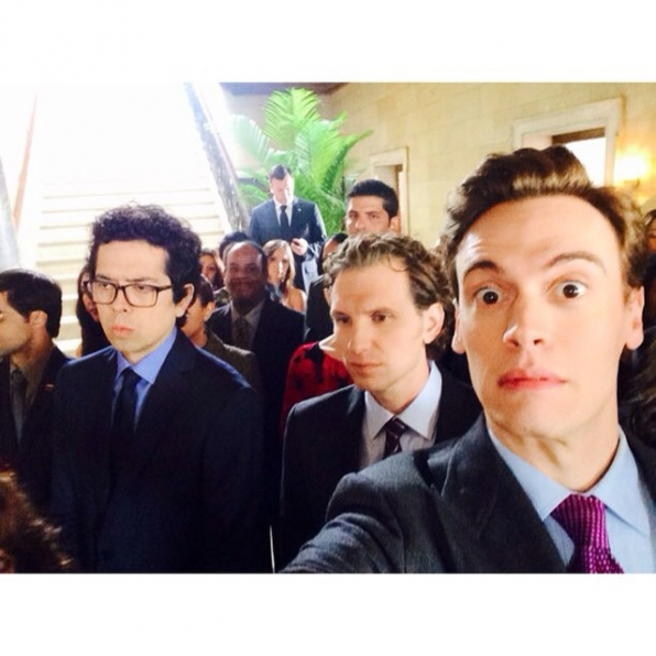 """Madam Secretary Instagram: We are taking over! Erich: Geoffrey and Sebastian are paying attention to the scene. I am too...in my own way."""" #SetLife #SelfieSunday #CBSInstagramTakeover"""
