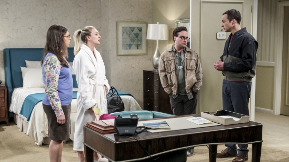 Leonard and Sheldon crash the girls' alone time.