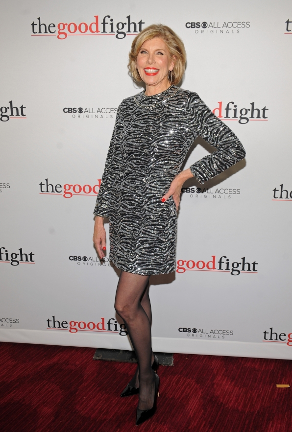 Christine Baranski sparkles on The Good Fight red carpet in a classy silver dress.