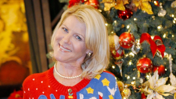 Pam swaps her signature cardigan for a fun holiday sweater.