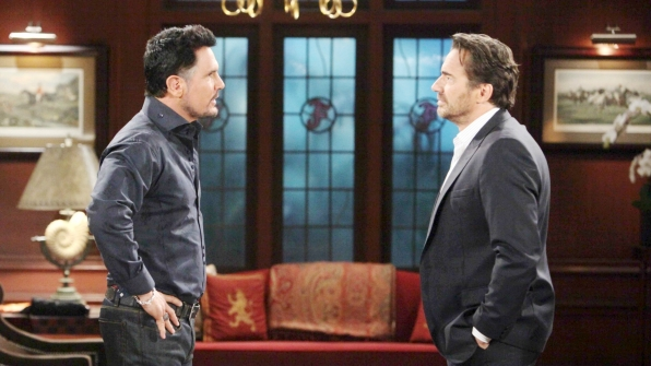 Bill has the bittersweet pleasure of informing Ridge about Thomas' recent gallant behavior that will cause them both financial losses.