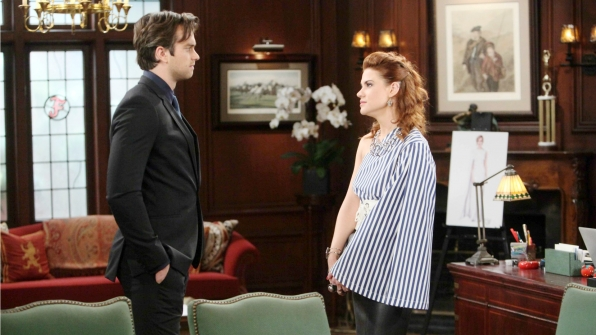 Sally makes a heartfelt appeal to Thomas before learning whether Forrester Creations will be pressing charges against her.