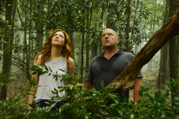 "Rachelle Lefevre as Julia Shumway and Dean Norris as James ""Big Jim"" Rennie."
