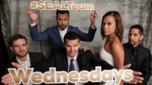 Max Thieriot, A.J. Buckley, David Boreanaz, Toni Trucks, and Neil Brown Jr. of SEAL Team