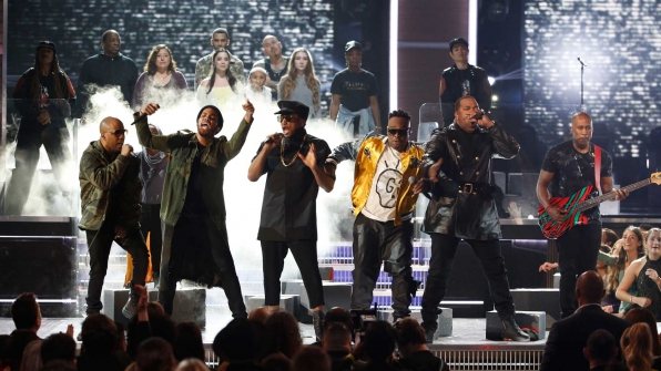 "A Tribe Called Quest, Anderson .Paak, and Busta Rhymes perform a medley of ""Movin' Backwards,"" ""We The People,"" and ""Award Tour"" at the 2017 GRAMMY Awards."
