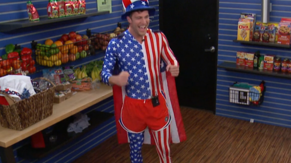Corey Brooks' patriotic unitard