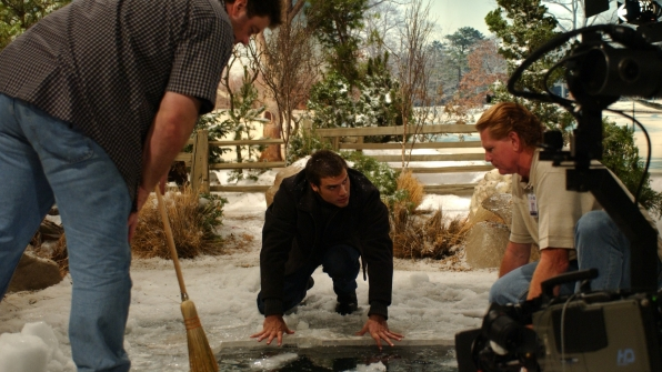 Joshua Morrow explores Y&R's winter wonderland set.
