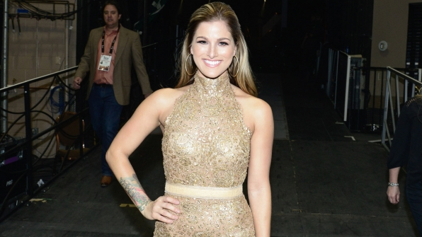"Cassadee Pope made a shimmery costume change for her duet of ""Think Of You"" with Chris Young."