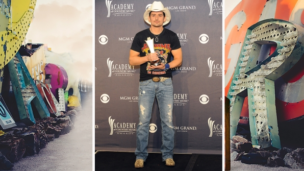 "Brad Paisley and his rugged boots are ""Crushin' It"" in the ACM press room."