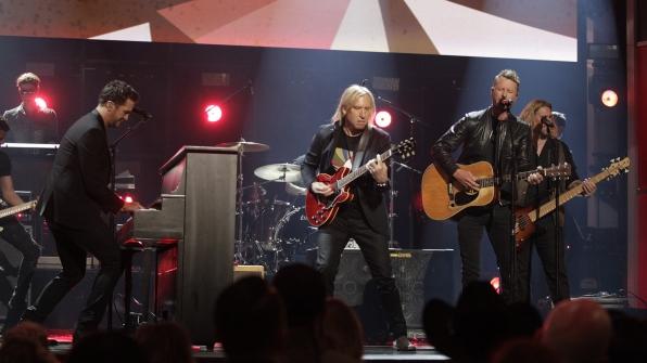 "Joe Walsh, Dierks Bentley, and Luke Bryan perform ""Johnny B. Goode"" at the 52nd ACM Awards"