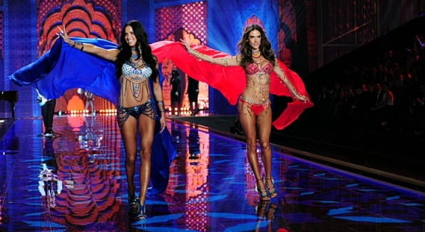 Alessandra Ambrosio and Adriana Lima werked it in diamonds.