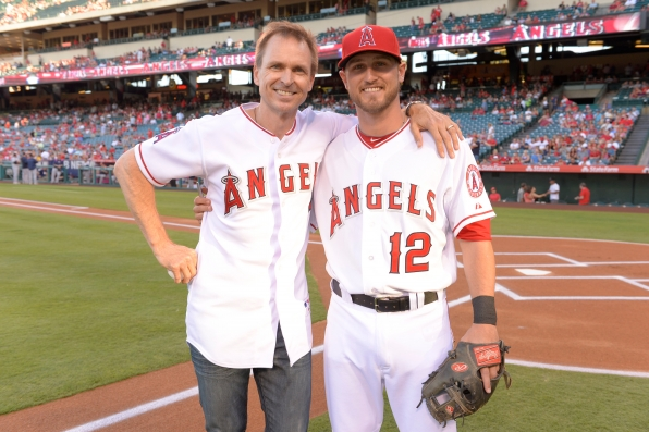 Phil with Angels player Shawn O'Malley
