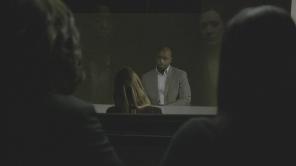 Lewis and Prentiss watch JJ's interrogation.