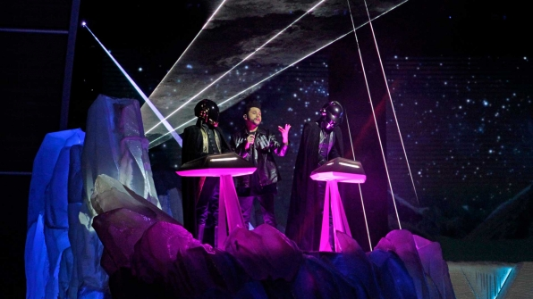 "The Weeknd featuring Daft Punk perform ""Starboy"" and ""I Feel It Coming"" at the 2017 GRAMMY Awards."