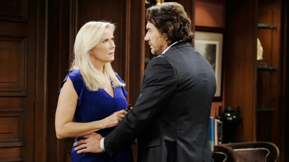 Ridge nudges Brooke to move forward in her plan to marry Bill because Forrester Creations is in jeopardy.
