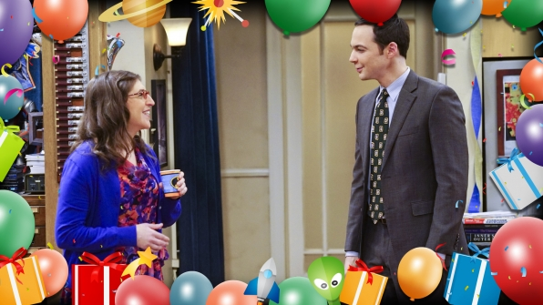 Amy and Sheldon dress up for the happy occasion.