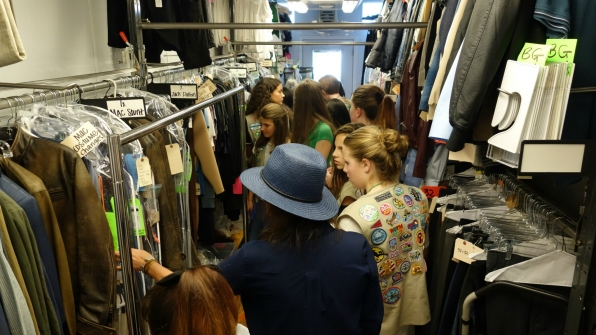 The girls get a tour of the MacGyver wardrobe.