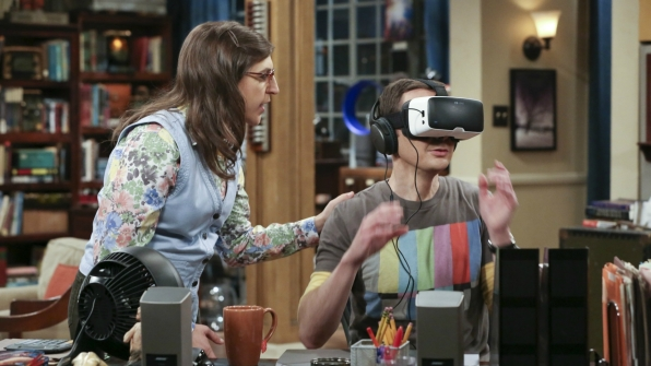 Amy interrupts Sheldon's VR walk through the woods.
