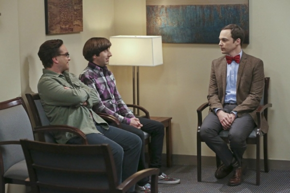 Leonard, Howard, and Sheldon eagerly await an important meeting.