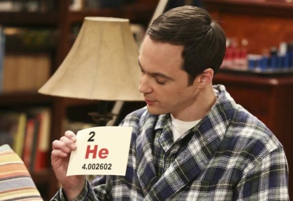 Sheldon proudly holds up a helium flashcard.