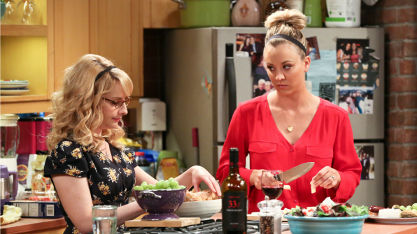 Bernadette helps Penny prep food and wine for Leonard's mother.