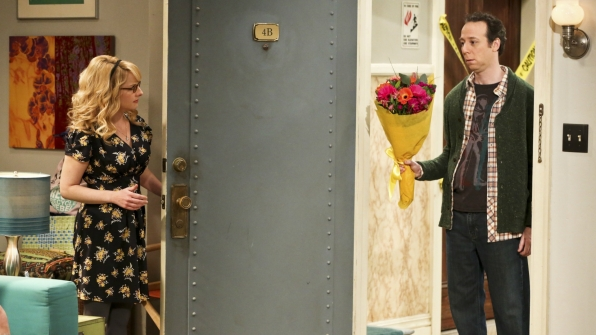 Stuart crashes girls' night with apology flowers from Sheldon.