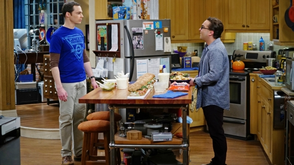 Sheldon and Leonard spar in the kitchen.