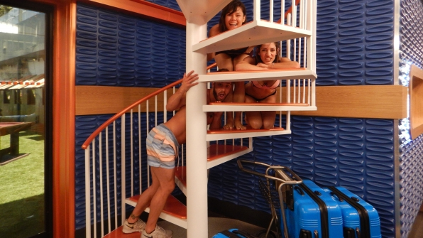 "Try not to ""stair"" at these three silly Houseguests."