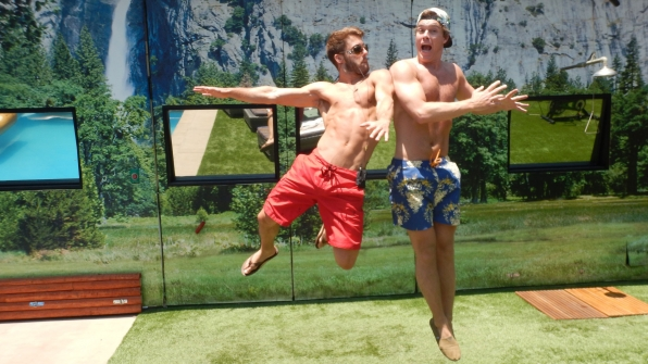 Paulie and Frank take flight in the BB backyard.