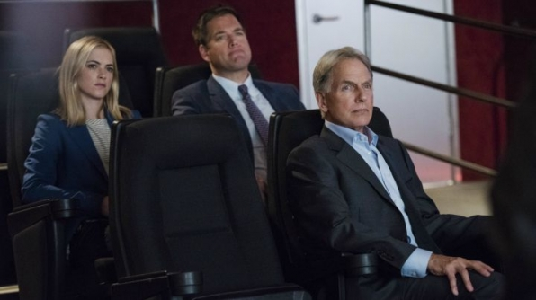 Mark Harmon as Leroy Jethro Gibbs, Emily Wickersham as Ellie Bishop, and Michael Weatherly as Anthony DiNozzo