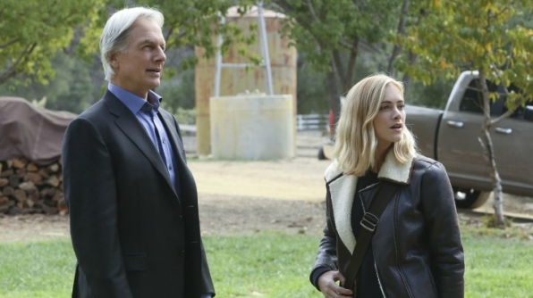 Mark Harmon as Leroy Jethro Gibbs and Emily Wickersham as Ellie Bishop