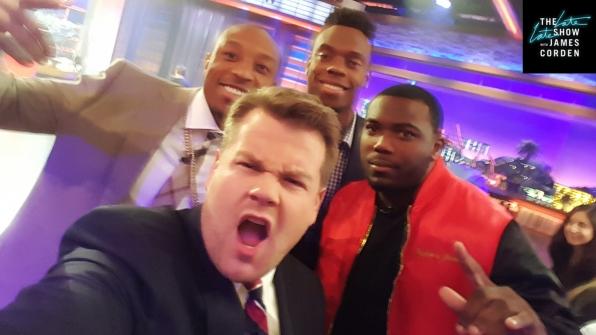 Broncos Players Chris Harris, Jr., Brandon Marshall and C. J. Anderson