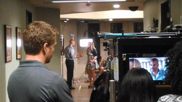 Twitter @CM_SetReport: Lights. Camera. @shemarmoore with @Vangsness bring the action. #criminalminds EP 10x02 Day 5 of 8.