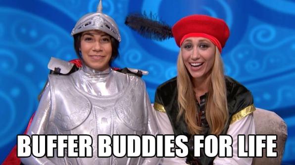 Vanessa rubs Jackie down.