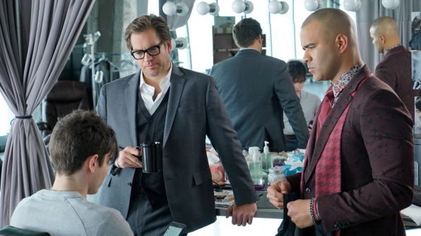 Dr. Jason Bull (Michael Weatherly) and Chunk (Chris Jackson) in Bull