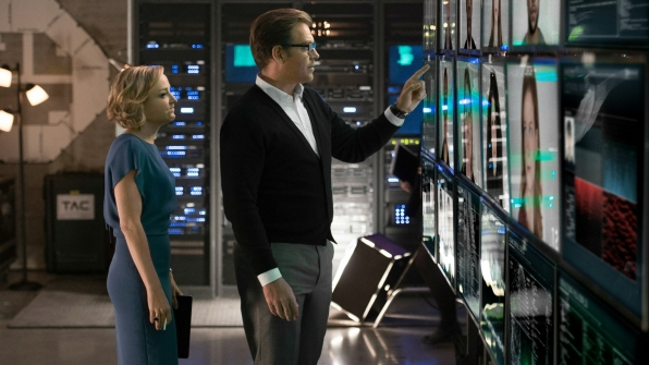 Marissa Morgan (Geneva Carr) and Dr. Jason Bull (Michael Weatherly) in Bull