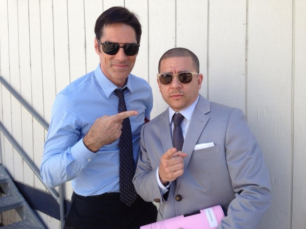 "Twitter @CM_SetReport: The boys bringing us #criminalminds EP#10x06 ""Boxed In"" They fancy. @VirgilWilliams #thomasgibson"