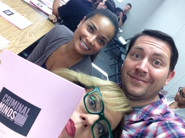 "Twitter @CM_SetReport: #selfie from today's read through for EP10x07 ""Hashtag"" written by @rickdunkle. @Vangsness @rochelleaytes"