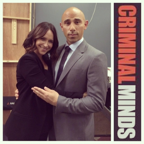 Twitter @BillyDec: Prom pic poses w/Jennifer Love Hewitt between our scenes on #CriminalMinds ..am I doing this right?