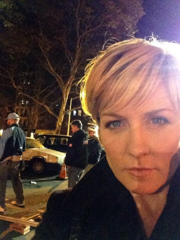 Amy Carlson on Set at Night